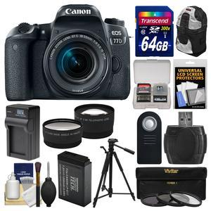 Canon EOS 77D Wi-Fi Digital SLR Camera and EF-S 18-55mm IS STM Lens with 64GB Card + Backpack + Battery and Charger + Tele-Wide Lenses + Filters + Remote + Kit