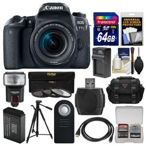 Canon EOS 77D Wi-Fi Digital SLR Camera and EF-S 18-55mm IS STM Lens with 64GB Card + Case + Flash + Battery and Charger + Tripod + 3 UV-CPL-ND8 Filters + Kit