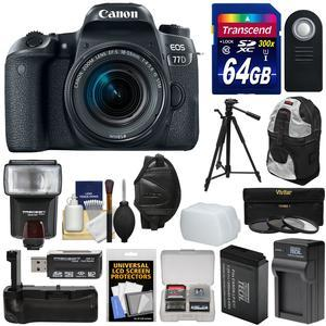 Canon EOS 77D Wi-Fi Digital SLR Camera and EF-S 18-55mm IS STM Lens with 64GB Card + Battery and Charger + Grip + Backpack + 3 Filters + Tripod + Flash + Kit