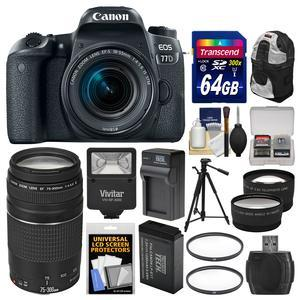 Canon EOS 77D Wi-Fi Digital SLR Camera and EF-S 18-55mm IS STM Lens with 75-300mm III Lens + 64GB Card + Backpack + Flash + Battery and Charger + Tripod + Kit