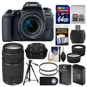 Canon EOS 77D Wi-Fi Digital SLR Camera and EF-S 18-55mm IS STM Lens with 75-300mm III Lens + 64GB Card + Case + Battery and Charger + Tripod + Tele-Wide Lenses