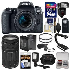 Canon EOS 77D Wi-Fi Digital SLR Camera and EF-S 18-55mm IS STM Lens with 75-300mm III Lens + 64GB Card + Case + Flash + Battery and Charger + Filters + Mic Kit