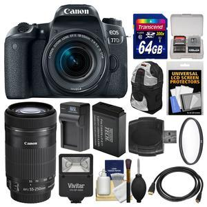Canon EOS 77D Wi-Fi Digital SLR Camera and EF-S 18-55mm IS STM Lens with 55-250mm IS STM Lens + 64GB Card + Backpack + Flash + Battery and Charger + Filter Kit