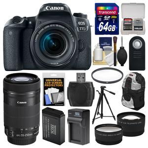 Canon EOS 77D Wi-Fi Digital SLR Camera and EF-S 18-55mm IS STM Lens with 55-250mm IS STM Lens + 64GB Card + Backpack + Battery and Charger + Tripod + 2 Lens Kit