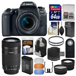 Canon EOS 77D Wi-Fi Digital SLR Camera and EF-S 18-55mm IS STM Lens with 55-250mm IS STM Lens + 64GB Card + Backpack + Battery and Charger + Tele-Wide Lens Kit