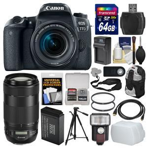 Canon EOS 77D Wi-Fi Digital SLR Camera and EF-S 18-55mm IS STM Lens with 70-300mm IS Lens + 64GB Card + Backpack + Flash + Battery and Charger + Tripod + Kit