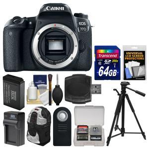 Canon EOS 77D Wi-Fi Digital SLR Camera Body with 64GB Card + Backpack + Battery and Charger + Tripod + Remote + Kit