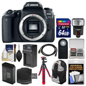 Canon EOS 77D Wi-Fi Digital SLR Camera Body with 64GB Card + Backpack + Flash + Battery and Charger + Tripod + Remote + Kit