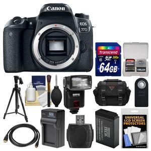 Canon EOS 77D Wi-Fi Digital SLR Camera Body with 64GB Card + Case + Flash + Battery and Charger + Tripod + Remote + Kit