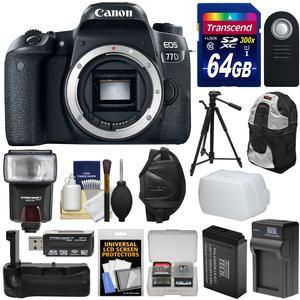 Canon EOS 77D Wi-Fi Digital SLR Camera Body with 64GB Card + Battery and Charger + Grip + Backpack + Wrist Strap + Tripod + Flash + Kit