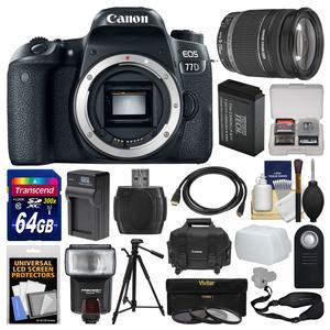 Canon EOS 77D Wi-Fi Digital SLR Camera Body with 18-200mm Lens + 64GB Card + Case + Flash + Battery and Charger + Tripod + Filters + Kit