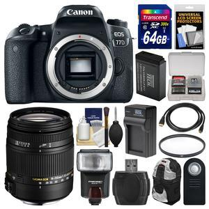 Canon EOS 77D Wi-Fi Digital SLR Camera Body with Sigma 18-250mm Lens + 64GB Card + Backpack + Flash + Battery and Charger + Filter Kit