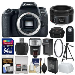 Canon EOS 77D Wi-Fi Digital SLR Camera Body with 50mm f-1.8 Lens + 64GB Card + Case + Flash + Battery and Charger + Tripod + Filter Kit