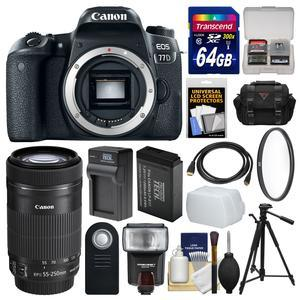 Canon EOS 77D Wi-Fi Digital SLR Camera Body with 55-250mm IS Lens + 64GB Card + Case + Flash + Battery and Charger + Tripod + Filter Kit