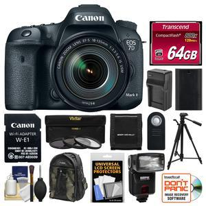 Canon EOS 7D Mark II Digital SLR Camera and EF-S 18-135mm IS USM Lens and Wi-Fi Adapter Kit with 64GB Card + Backpack + Flash + Battery + Charger + Tripod + 3 UV-CPL-ND8 Filters Kit