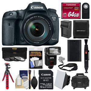 Canon EOS 7D Mark II Digital SLR Camera and EF-S 18-135mm IS USM Lens and Wi-Fi Adapter Kit with 64GB Card + Case + Flash + Battery + Charger + Flex Tripod + HDMI Cable + Filters Kit