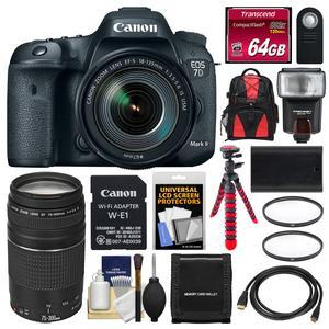 Canon EOS 7D Mark II Digital SLR Camera and EF-S 18-135mm IS USM Lens and Wi-Fi Adapter Kit with 75-300mm III Lens + 64GB Card + Backpack + Flash + Battery + Flex Tripod + Kit