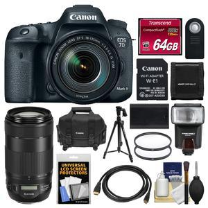 Canon EOS 7D Mark II Digital SLR Camera and EF-S 18-135mm IS USM Lens and Wi-Fi Adapter Kit with 70-300mm IS II Lens + 64GB Card + Case + Flash + Battery + Tripod + Kit
