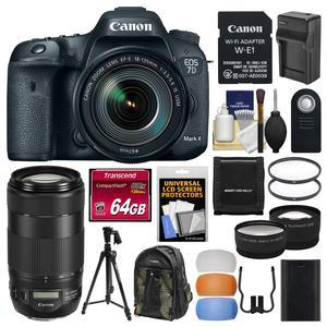Canon EOS 7D Mark II Digital SLR Camera and EF-S 18-135mm IS USM Lens and Wi-Fi Adapter Kit with 70-300mm IS II Lens + 64GB Card + Backpack + Battery and Charger + Tripod + 2 Lens Kit