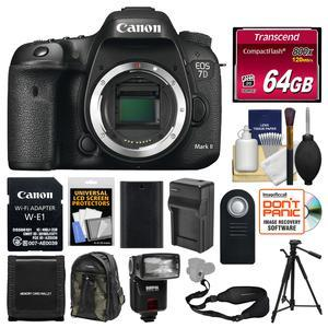 Canon EOS 7D Mark II Digital SLR Camera Body and Wi-Fi Adapter Kit with 64GB Card + Backpack + Flash + Battery + Charger + Tripod + Sling Strap + Remote Kit