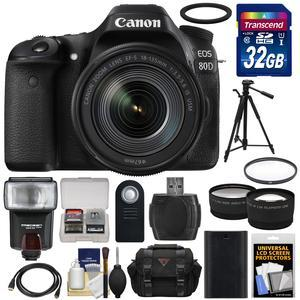 Canon EOS 80D Wi-Fi Digital SLR Camera and EF-S 18-135mm IS USM Lens with 32GB Card + Battery + Case + Filter + Tripod + Flash + Tele-Wide Lens Kit
