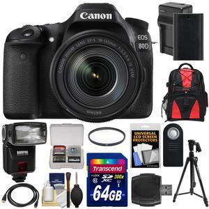 Canon EOS 80D Wi-Fi Digital SLR Camera and EF-S 18-135mm IS USM Lens with 64GB Card + Battery and Charger + Backpack + Filter + Tripod + Flash + Kit