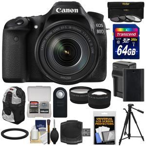 Canon EOS 80D Wi-Fi Digital SLR Camera and EF-S 18-135mm IS USM Lens with 64GB Card + Battery and Charger + Backpack + Tripod + Filters + Tele-Wide Lens Kit