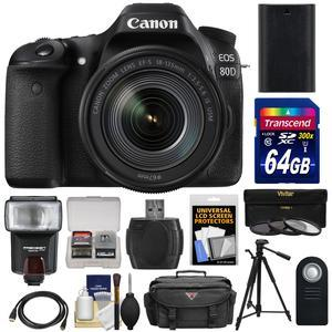 Canon EOS 80D Wi-Fi Digital SLR Camera and EF-S 18-135mm IS USM Lens with 64GB Card + Battery + Case + Flash + Tripod + 3 Filters + Kit