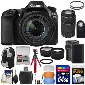 Canon EOS 80D Wi-Fi Digital SLR Camera and EF-S 18-135mm IS USM Lens with 75-300mm III Lens + 64GB Card + Battery and Charger + Backpack + Tripod + 2 Lens Kit