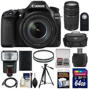 Canon EOS 80D Wi-Fi Digital SLR Camera and EF-S 18-135mm IS USM Lens with 75-300mm III Lens + 64GB Card + Battery + Case + Filters + Tripod + Flash + Kit