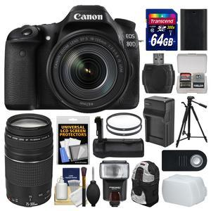 Canon EOS 80D Wi-Fi Digital SLR Camera and EF-S 18-135mm IS USM Lens with 75-300mm III Lens + 64GB Card + Case + Flash + Battery and Charger + Grip + Tripod Kit