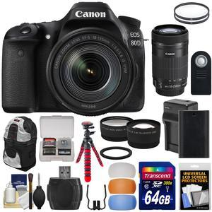 Canon EOS 80D Wi-Fi Digital SLR Camera and EF-S 18-135mm IS USM Lens with 55-250mm IS STM Lens + 64GB Card + Battery and Charger + Backpack + Tripod + 2 Lens Kit