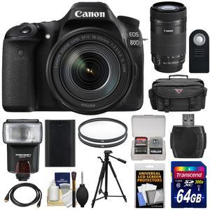 Canon EOS 80D Wi-Fi Digital SLR Camera and EF-S 18-135mm IS USM Lens with 55-250mm IS STM Lens + 64GB Card + Battery + Case + Filters + Tripod + Flash + Kit