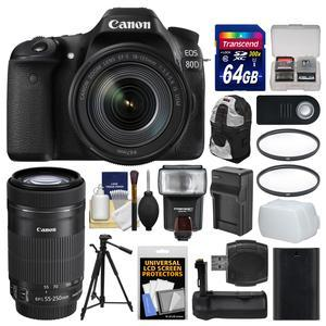 Canon EOS 80D Wi-Fi Digital SLR Camera and EF-S 18-135mm IS USM Lens with 55-250mm IS Lens + 64GB Card + Case + Flash + Battery and Charger + Grip + Tripod + Kit