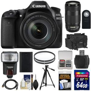 Canon EOS 80D Wi-Fi Digital SLR Camera and EF-S 18-135mm IS USM Lens with 70-300mm IS II USM Lens + 64GB Card + Battery + Case + Filters + Tripod + Flash + Kit