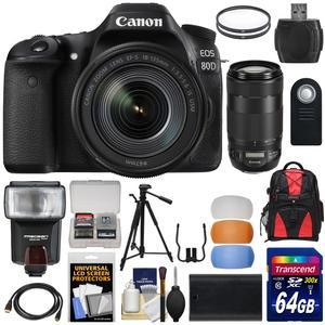 Canon EOS 80D Wi-Fi Digital SLR Camera and EF-S 18-135mm IS USM Lens with 70-300mm IS USM Lens + 64GB Card + Battery + Backpack + Filters + Tripod + Flash Kit