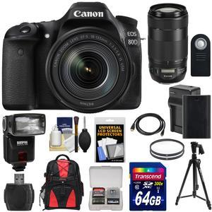 Canon EOS 80D Wi-Fi Digital SLR Camera and EF-S 18-135mm IS USM Lens with 70-300mm IS II USM Lens + 64GB + Battery and Charger + Backpack + Tripod + Flash Kit