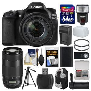 Canon EOS 80D Wi-Fi Digital SLR Camera and EF-S 18-135mm IS USM Lens with 70-300mm IS II Lens + 64GB Card + Case + Flash + Battery-Charger + Grip + Tripod Kit