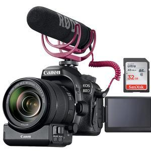 Canon EOS 80D Wi-Fi Digital SLR Camera and EF-S 18-135mm IS USM Lens Video Creator Kit includes PZ-E1 Power Zoom Adapter RODE GO Microphone and 32GB Card