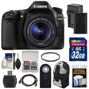 Canon EOS 80D Wi-Fi Digital SLR Camera and EF-S 18-55mm IS STM Lens with 32GB Card + Battery and Charger + Backpack + Tripod + Filter + Kit