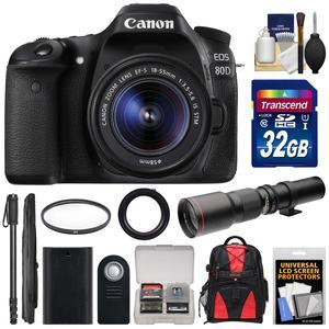 Canon EOS 80D Wi-Fi Digital SLR Camera and EF-S 18-55mm IS STM Lens with 500mm Telephoto Lens + 32GB Card + Battery + Filter + Backpack + Monopod + Kit