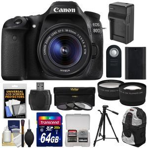 Canon EOS 80D Wi-Fi Digital SLR Camera and EF-S 18-55mm IS STM Lens with 64GB Card + Battery and Charger + Backpack + Tripod + Tele-Wide Lens Kit