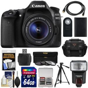 Canon EOS 80D Wi-Fi Digital SLR Camera and EF-S 18-55mm IS STM Lens with 64GB Card + Battery + Case + Flash + Tripod + 3 Filters + Kit