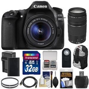 Canon EOS 80D Wi-Fi Digital SLR Camera and EF-S 18-55mm IS STM Lens with 75-300mm III Lens + 32GB Card + Battery and Charger + Backpack + Tripod + Kit