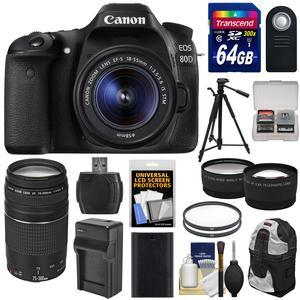 Canon EOS 80D Wi-Fi Digital SLR Camera and EF-S 18-55mm IS STM Lens with 75-300mm III Lens + 64GB + Battery and Charger + Backpack + Tripod + Tele-Wide Lens Kit