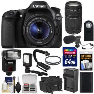 Canon EOS 80D Wi-Fi Digital SLR Camera and EF-S 18-55mm IS STM Lens with 75-300mm III Lens + 64GB + Battery + Case + Flash + LED Light + Mic + Stabilizer Kit