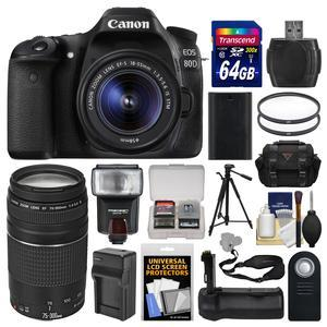 Canon EOS 80D Wi-Fi Digital SLR Camera and EF-S 18-55mm IS STM Lens with 75-300mm III Lens + 64GB Card + Case + Flash + Battery and Charger + Grip + Tripod Kit