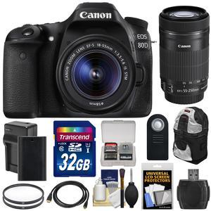 Canon EOS 80D Wi-Fi Digital SLR Camera and EF-S 18-55mm IS STM Lens with 55-250mm IS STM Lens + 32GB Card + Battery and Charger + Backpack + Kit