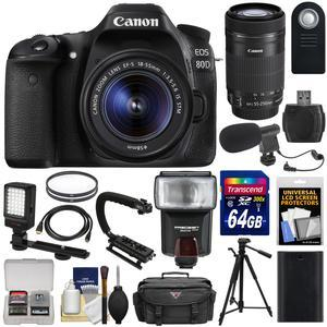 Canon EOS 80D Wi-Fi Digital SLR Camera and EF-S 18-55mm IS STM Lens with 55-250mm IS STM Lens + 64GB + Battery + Case + Tripod + Flash + LED + Mic Kit