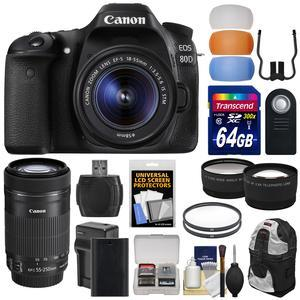 Canon EOS 80D Wi-Fi Digital SLR Camera and EF-S 18-55mm IS STM Lens with 55-250mm IS STM Lens + 64GB Card + Battery + Backpack + Tele-Wide Lens Kit